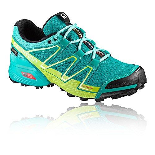 Salomon Signore Velocità Trasversale Gtx Vario W Scarpe Da Trail Running, Blu, Turchese 43,3 Eu / Lime