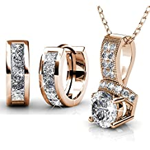 DESIMTION Rose Gold Plated Hypoallergenic Huggie Earrings,Small Hoop Earrings Necklace Set for Women with Swarovski Crystals