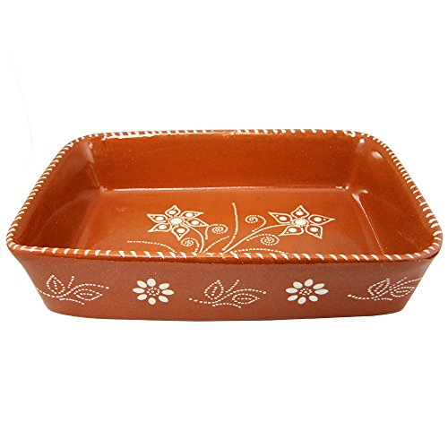 Vintage Portuguese Traditional Clay Terracotta Pottery Roasting Tray Made In Portugal (N.2 13 5/8 x 9 3/4 x 3 1/8'' Inches) by Ceramica Edgar Pinto (Image #3)'