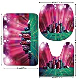 3 Piece Bathroom Mat Set,Poker Tournament Decorations,Stack of Gambling Chips Success Wealth Winner Lucky Betting Decorative,Multicolor,Bath Mat,Bathroom Carpet Rug,Non-Slip