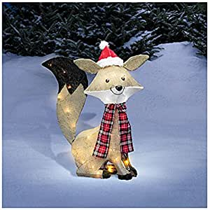 Pre lit lighted christmas burlap fox christmas for Amazon christmas lawn decorations