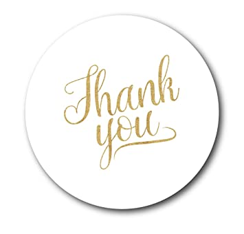 Thank you stickers - white with gold glitter effect text 30mm in diameter,  party bags