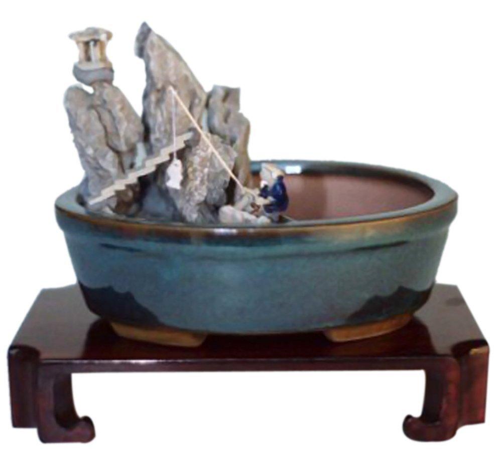 jmbamboo-Home Decor Water Stone Landscape Scene Ceramic Bonsai Pot - 8 x 6