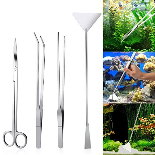 - UEETEK 4PCS Stainless Steel Aquarium Tank Aquatic Plant Tweezers and Scissors Spatula Tool Set