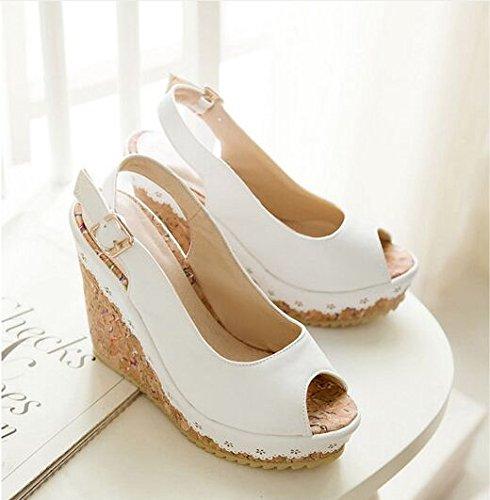 ZHZNVX Lado de tacones altos de verano con zapatos de plataforma a prueba de agua sandalias coreanas zapatos de boca de pescado zapatos casuales de fondo de muffin White