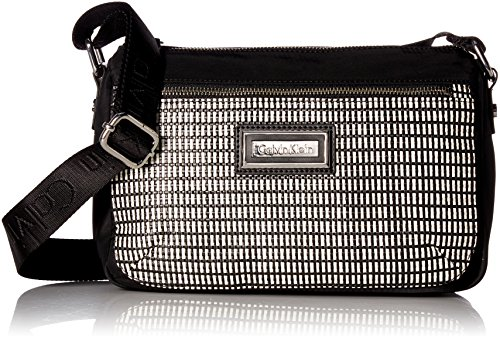 Calvin Klein Belfast Key Item Raffia Top Zip Crossbody, White/Black (Key Item Cross Body)