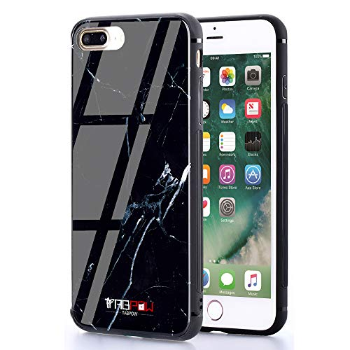 iPhone 8 Plus Case, iPhone 7 Plus Cases, Marble 9H Tempered Glass Series - Slim Light Weight Thin Drop Proof Cover with Soft Protective Bumper - Black