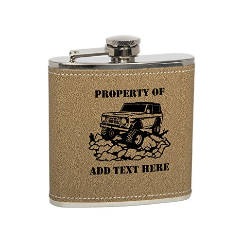 - Gift Box With 6 Oz Stainless Steel Leather Covered Hip Flask With Funnel - Bronco Personalized Engraved Gift for Men, Custom Wedding Gift - Monogrammed Black Text