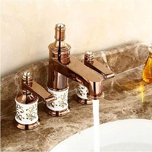 ZJN-JN 蛇口 蛇口流域水栓真鍮ゴールデン3つのホールダブルハンドルの浴室のシンクの蛇口の高級Bathbasinバスタブ蛇口ホットコールドミキサー水 台付