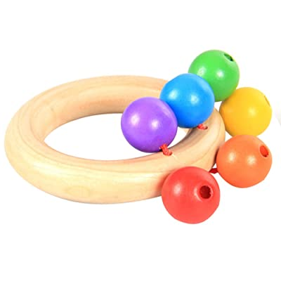 Vi.yo 10 * 7 * 4.5 cm Sonajero de Madera Instrumento de Sonajero Juguete de Sonajero 0-12 Meses Bebé Traqueteo Infantil Juguetes Educativos para la Primera Infancia: Juguetes y juegos