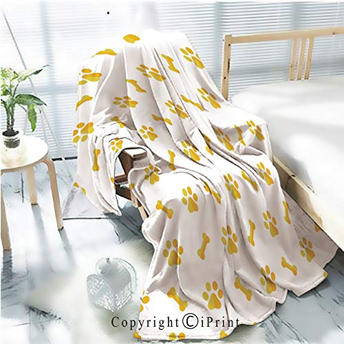 Flannel Printed Blanket for Warm Bedroom,dog bone seamless pattern dog paw vector footprint tile repeat background scarf wallpaper isolated Cracked Burning Earth Decorative,One Side Printing,W47.2
