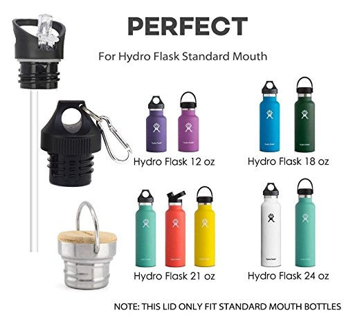 Clife Replacement Lid for Standard Mouth Water Bottles Vacuum Insulated Double Wall Stainless Steel Water Bottle Vacuum Insulated Water Bottle Sports Lid/Cap(Bamboo Stainless Steel,Straw Lid,Twisted) by Clife (Image #4)
