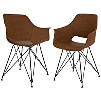 Glitzhome Mid-Century Modern Vintage Camel Leatherette Dining Chair Set of 2