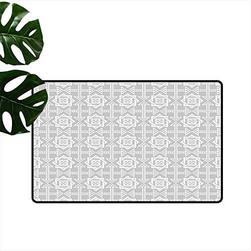 Fusion Floral Square (PEONIY&HOME Geometric,Personalized Door mats Abstract Repeating Pattern with Floral Squares Frames and Dotted Arrows Motifs Floor Door Mat for Kids Room W 16