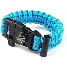Yoyorule Rope Paracord Survival Bracelet Flint Fire Starter Compass Whistle