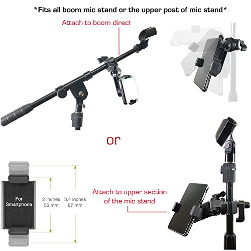 AccessoryBasics Music Boom Mic Microphone Stand Smartphone Mount w/360° Swivel Adjust Holder for Apple iPhone X 8 7 Plus 6s Samsung Galaxy S8 S9 Note Google Pixel XL LG v30 phones by Accessory Basics (Image #2)