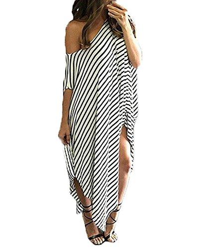 Kidsform Women Maxi Dress Striped Long Dresses Casual Loose Kaftan Oversized Round Neck Sundress