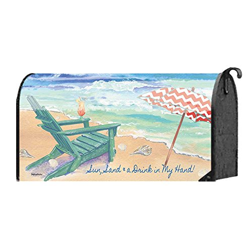 Sun, Sand and a Drink in My Hand Adirondack Chair 22 x 18 Standard Size Mailbox Cover ()