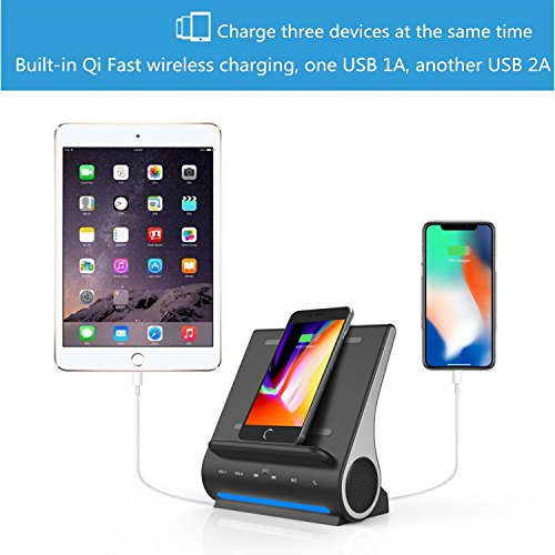 Qi Wireless Charging Docking Station Fast 15W and Bluetooth Speaker System D108 Super Bass Stereo Output 10W with Multi USB Ports for iPhone X/8/8plus iPad Android Samsung S8/S8plus by DORNLAT (Image #5)