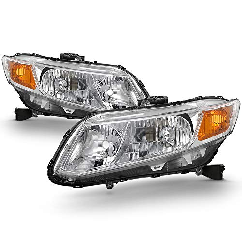 Honda Civic 2dr Type - [Halogen Type] Fits 2012-2015 Civic Sedan 4DR / 12 13 Coupe 2DR Headlights Driver Left + Passenger Right Side Pair Set