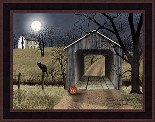 Home Cabin Décor 'Sleepy Hollow Bridge' by Billy Jacobs 15x19 Full Moon Covered Bridge Black Cat Jack-O'-Lantern Pumpkin Night Framed Art Print ()
