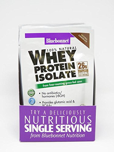 Bluebonnet Nutrition 100% Natural Whey Protein Isolate Powder, Chocolate Flavor, 26 g (8 Count)