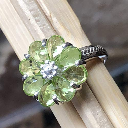 Estate Genuine 6ct Apple Green Peridot 925 Solid Sterling Silver Flower Vintage Ring sz 5.75, 6, 6.25, 6.75, 7, 7.75, 8, 8.75, 9