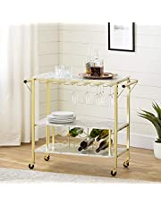 South Shore Furniture Maliza Bar Cart Bottle Storage and Wine Glass Rack-Faux Marble
