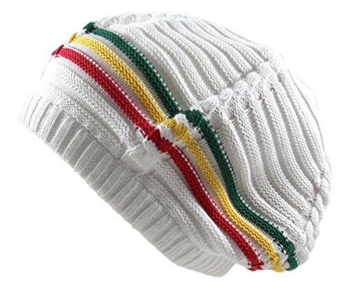 (RW 100% Cotton Classic Rasta Slouchy Ribbed Beanie Hat (White/Rasta))