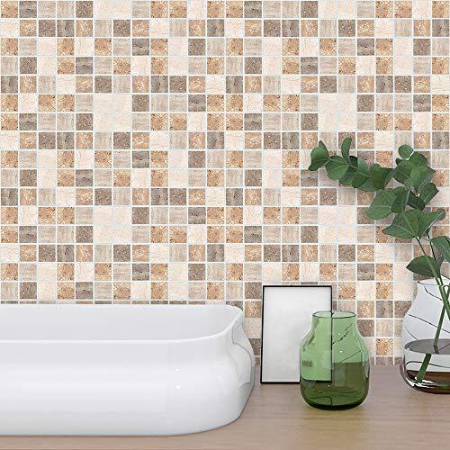 Finedayqi  18pcs Self Adhesive Waterproof Black Marble Mosaic Wall Art Kitchen Tile Sticker (Scene Mosaic Art Tile Mural)