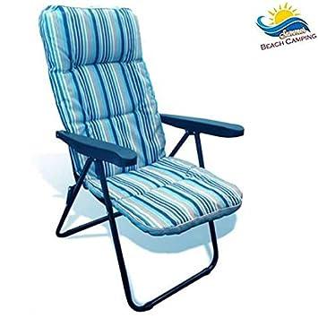 ... abatible silla relax de jardín tumbona Camping Camping Outdoor con  almohadas y reposacabezas acolchado Prendisole Relax color Azul  Amazon.es   Jardín 6681527daf