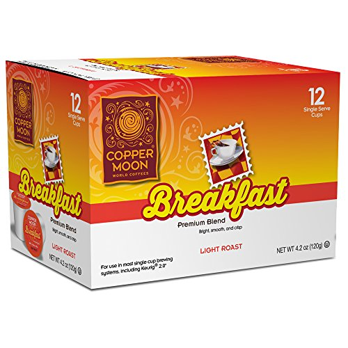 Copper Moon Single Cups for Keurig K-Cup Brewers, BreAkfAst Blend, 12 Count, Light RoAst Coffee, with A Bright, Smooth Body, And Crisp Finish, Single-Serve Coffee Pods