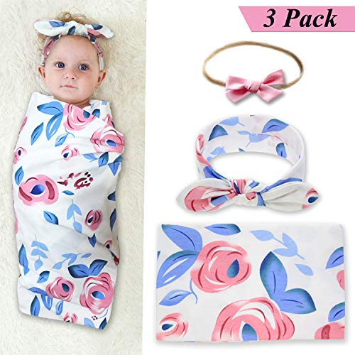 Newborn Baby Swaddle Blanket and Bow Headband Set Baby Receiving Blankets Baby Shower Gift (Blue) by junsu