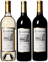 Albertina Wine Cellars Best of Mendocino County Red and White Wine Mixed Pack, 3 x 750 mL