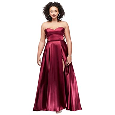 David\'s Bridal Strapless Side-Laced Charmeuse Plus Size Prom Dress ...