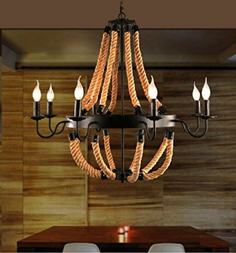 Aiwen American Industries Simplicity Hemp Rope Drop Light Retro Wrought Iron Creatively Bar Coffee House Sitting Room Dining Large