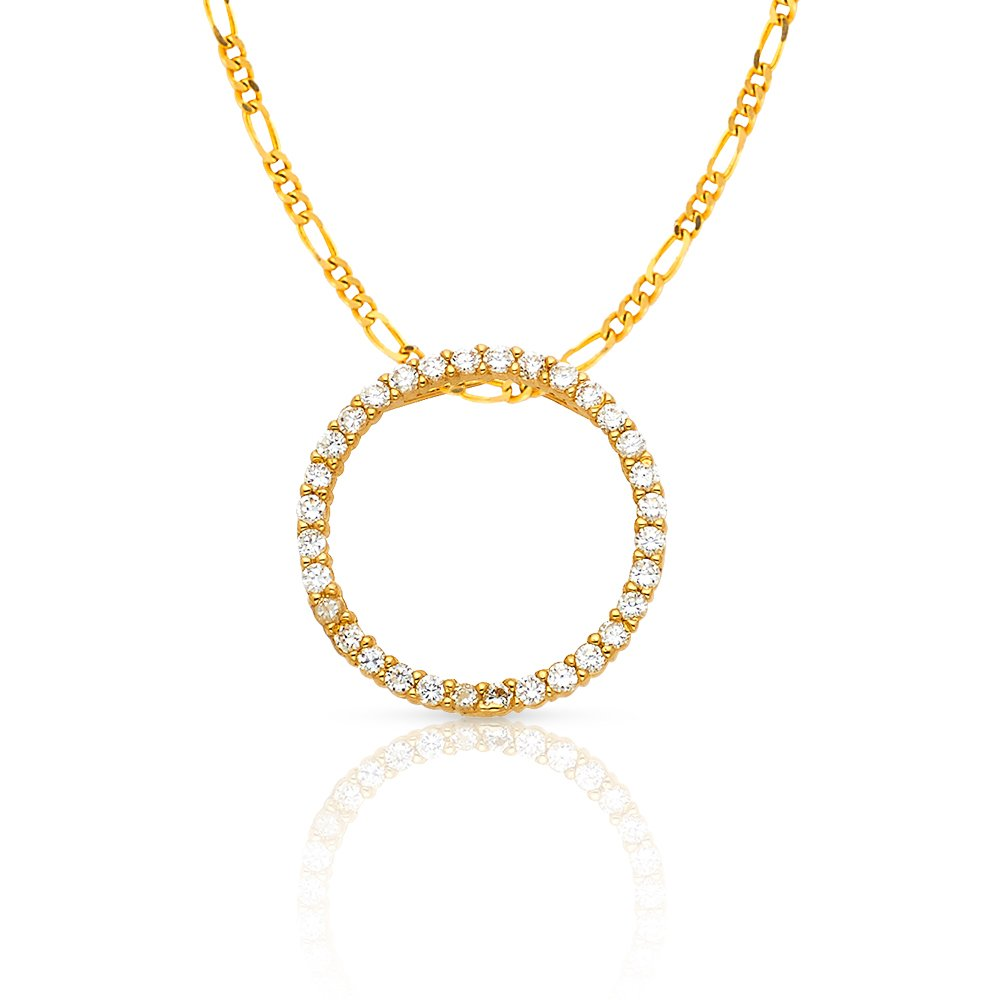 14K Yellow Gold Journey Eternity Circle of Life Cubic Zirconia CZ Charm Pendant with 2mm Figaro 3+1 Chain Necklace Ioka IG-01-100-0577 IG-01-900-0105
