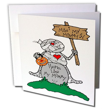 (3dRose Blonde Designs Happy and Haunted Halloween - Halloween Cute Mummy and Tombstone - 1 Greeting Card with envelope)