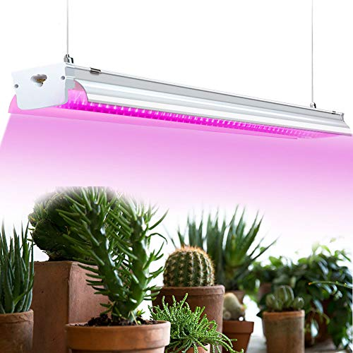 2ft LED Grow Light Fixture - 32W Red Bloom Dedicated Spectrum Grow Lamp Bulb - for Indoor Plants, Green House Plant, Hydroponic, Seedling, Succulents, Veg and Flower, Pinstripe Cover, HID/CFL/HPS
