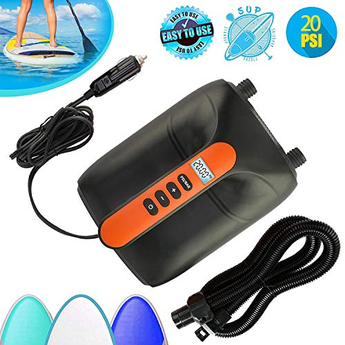20PSI Max SUP Air Pump Electric - 12V DC Car Connector, Smart Dual Stage Inflation Deflation & Auto-Off, Digital Adjustable LCD Function, SUP Pump for Inflatable Stand Up Paddle Boards, Boats, Kayak