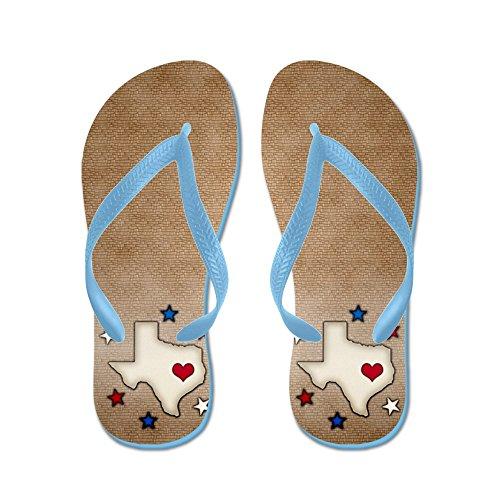 Cafepress Texas Röd Hjärta - Flip Flops, Roliga Rem Sandaler, Strand Sandaler Caribbean Blue
