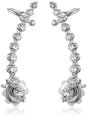 - 14k White Gold Shared 2- Prong Attachable Diamond Loop Earrings (1cttw, I-J Color, SI2-I1 Clarity)
