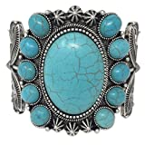 Simulated Turquoise Western Style Silver Tone Wide Cuff Bracelet (Oval frame)