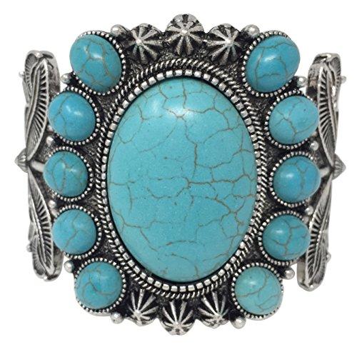 Western Jewelry Necklace Bracelet - Gypsy Jewels Simulated Turquoise Western Style Silver Tone Wide Cuff Bracelet (Oval Frame)