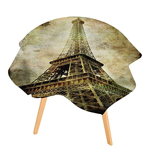 Paris Series Moderne - PINAFORE Printed Tablecloth Old Paris Vintage Series Eiffel Tower Modern Printed Spill Proof Cloth Round Tablecloths 50