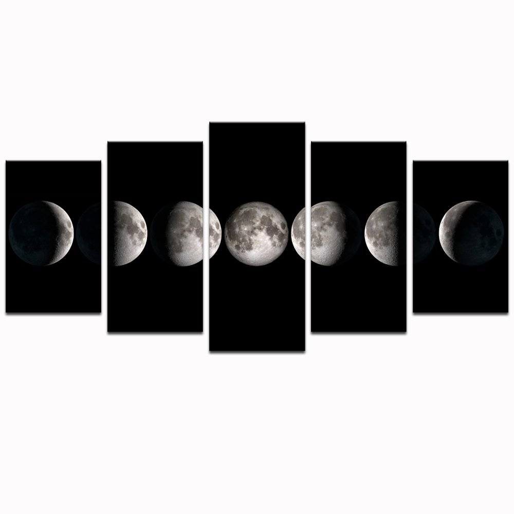 sechars - Canvas Wall Art Prints The Moon Phases Pictures to Photo Paintings on Canvas Wall Art for Home Office Decorations,5 Pieces Stretched Artwork Artwork Ready to Hang ¡