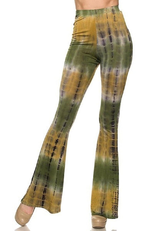 2Chique Boutique Women' Lime Green Mix Tie Dye Flare Pants