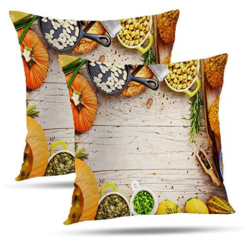 Batmerry Halloween Thanksgiving Decorative Pillow Covers 18x18 inch Set of 2,Pumpkin Soup Traditional Seasonal Space Dinner Vegetarian Halloween Throw Pillows Covers Sofa Cushion Cover -