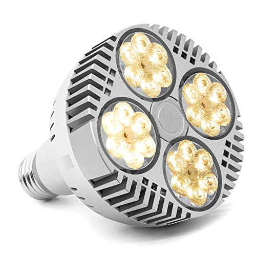 LED Grow Light for Indoor Plants 120W Full Spectrum Plant Light Bulb E27 Sunlike White LED Plant Lamp Bulb Fan Cooling for Indoor Garden Hydroponics Greenhouse Plants Growth
