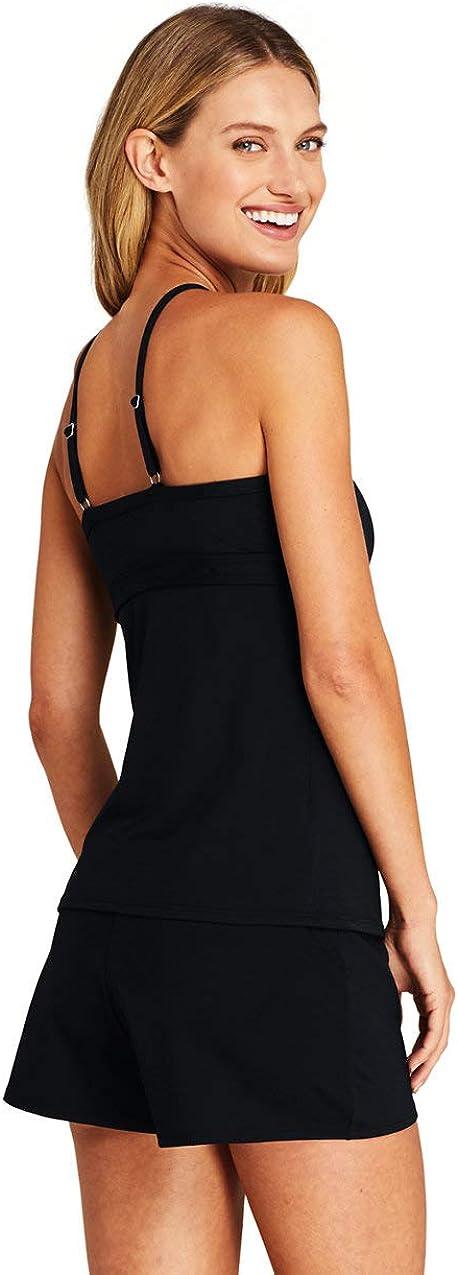 Lands End Womens Plus Size Keyhole High Neck Modest Tankini Top Swimsuit Adjustable Straps